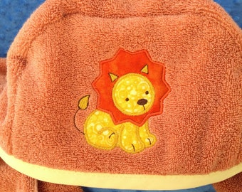 Flannel Lined Hooded Lion Bath Towel