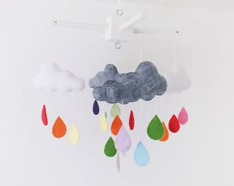 white and grey rain cloud baby mobile with rainbow drops
