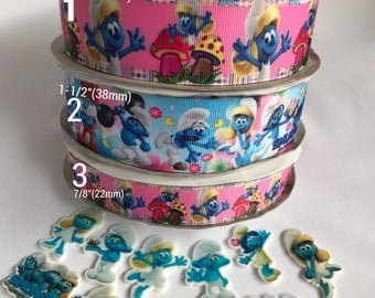 "1.5"" - 7/8"" The smurfs/smurfette inspired ribbon."