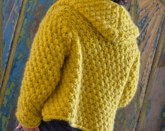 short, yellow wool jacket with hood, hand knitted, 36/38