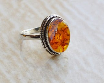 Boho Baltic Amber Gemstone Ring, 925 Sterling Silver Ring, Amber Ring, Natural Fossil Amber Ring, Handmade Birthstone Gift Ring, Orange Ring