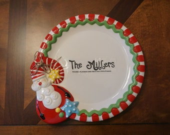 """Personalized 12"""" round Christmas plate"""