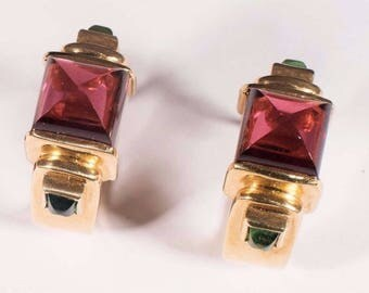 18K Yellow Gold Pink and Green Tourmaline Earrings, 13.8 grams