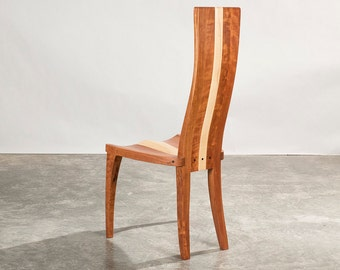 "Dining Chairs, Wood Dining Chairs In Cherry And Curly Maple, Carved Seat And Curved Back, ""Gazelle High Back"""