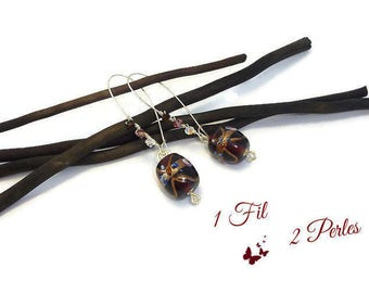 Silver earrings dangling bead glass purple gold - earrings trend
