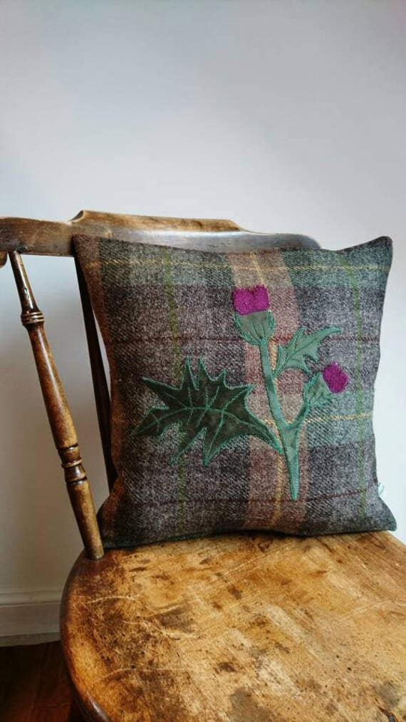 Hand Crafted Harris Tweed Thistle cushion cover