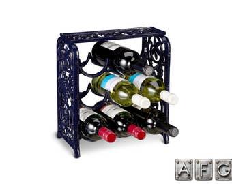 Cast iron 9 bottle wine rack