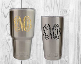 YETI Decal|Initial Decal|Vinyl monogram|Yeti Cup Decal|Yeti Cup Sticker|Name Decal|Vine Monogram Decal|Glitter Monogram|Glitter Car Decal