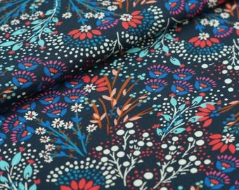 Beautiful small flowers, flower branches, floral cotton jersey. One unit is 0.5 metre
