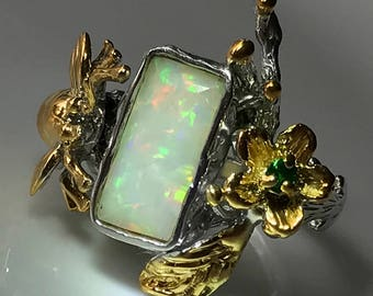 Opal Garden' A Majestic Opal Chrome Diopside Bee Ring Size 10