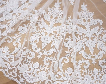 Bridal lace embroidered fabric beaded ivory fabric fashion guipure lace fabric french lace for wedding gown