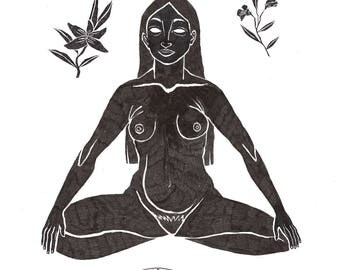 Paryankāsana Ilustration, Digital Print