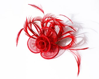 Red Fascinator 2 in1 Hair Clip and Brooch
