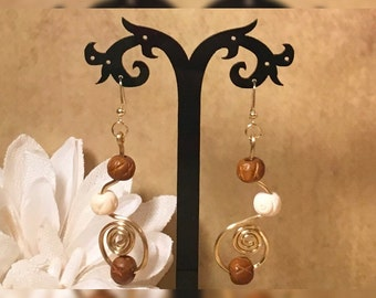 Gold Beaded Bendable Wire Earrings