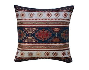 KILIM PILLOW Cover - Turkish Pillow -Tribal Pillow Cover -Ethnic Pillow -Geometric Pattern -Navy White Pillow -Kilim Throw Pillow