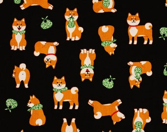 "Shiba Dog Fabric made in Japan, Dog Fabric / Half Yard 45cm by 108cm or 18"" by 43"""