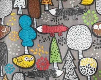 Forest Fox Owl Printed Laminated Fabric Waterproof / made in Korea by the Yard