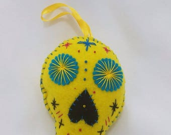Yellow felt sugar skull