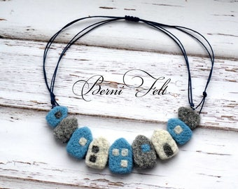 Blue Design Necklace, Felt Necklace,  Houses Necklace, Wool Jewelry