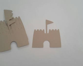 Sand castle die cuts - Sand castle cutouts - Sand castle embellishments - Beach die cuts - Beach themed party - Scrapbook die cuts