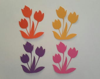 Spring flower die cuts - Flower cutouts - Scrapbook embellishments - Paper flowers - Card making die cuts - Paper projects