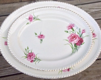 Pretty In Pink-Set of 2 Johnson Bros Pink Carnation Serving Platters 11.5 and 14 Inches