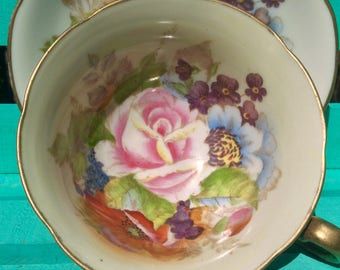 Pretty In Pink-Stunning Occupied Japan Hand Painted Teacup and Saucer
