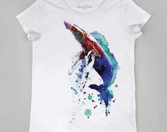 Whale t-shirt, women t-shirt, watercolor