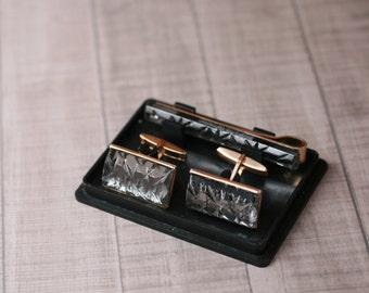 Vintage cufflinks, Soviet Cufflinks and tie clip metal set USSR vintage retro cufflinks mens cufflinks tie clip retro