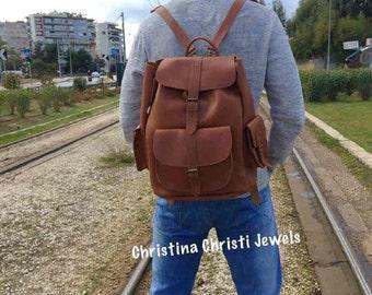 Backpack Men, Leather Bag Men, Leather Backpack, Leather Rucksack, Laptop Bag, Made in Greece. EXTRA LARGE.