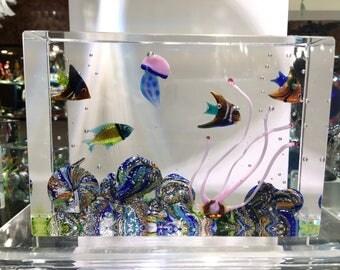 Aquarium  murano glass medium 20 cm.