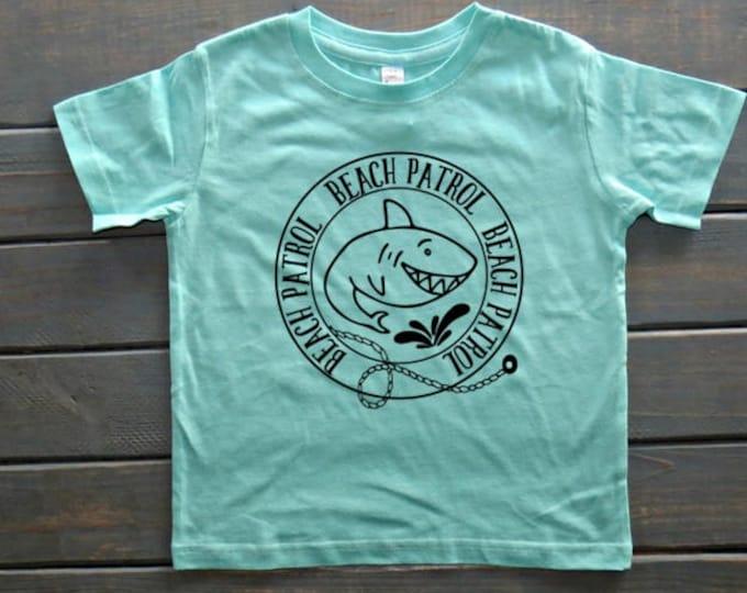 Beach Patrol Shirt, Boys' Beach Apparel, Shark Shirt, Boys' Summer Shirt, Cute Boys' Clothing, Gifts For Boys