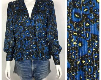 Vtg 80s floral silk cropped blouson dress top ahirt blouse gold lurex gauze disco