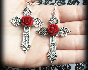 Gothic Cross Earrings With Red Roses, Silver Cross Earrings, Alternative Jewelry, Gothic Gift, Handmade, Gothic Wedding, Romantic Jewelry