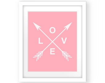 Baby Girl Nursery, Nursery Wall Art, Wall Decor, Art Print, Pink Print, Nursery Decor, Nursery Prints Girl, Pink Arrow, Love Arrows