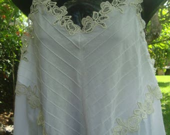 White Cotton Nightgown with Adjustable straps and Lace CUSTOM ORDER