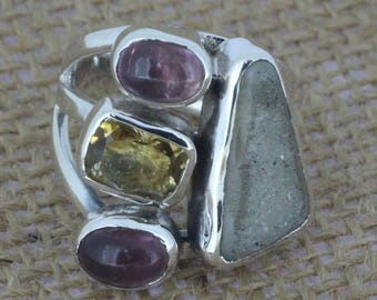 925 Sterling Silver ring With Multistone  Gemstone