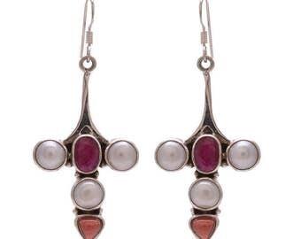 925 Sterling Silver Earrings / Natural Ruby Pearl Earrings / Multi Color Stone / Anniversary Gift Earrings / Red Color Ruby Earrings Jewelry
