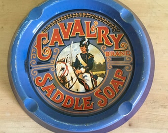 Vintage Tin Ashtray Cavalry Saddle Soap Brand Motif Made in England Case Manufacturing Co. Tobacciana Collectable Mancave Decor