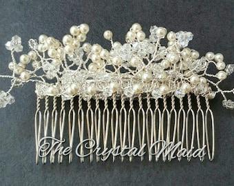 Ivory Swarovski Pearl and Crystal Bridal Hair Comb (silver)