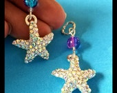 Hearing Aid Charms:  Dazzling Jeweled Starfish with Crackle Glass Accent Beads!