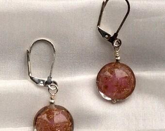 Earrings - handmade with Reddish brown murano beads