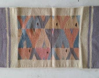 "Vintage wool rug, tapestry, hanswoven, southwest style rug, 24x36"" fish motif, pastel colors, handwoven rug, handmade rug"