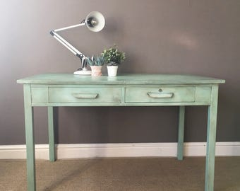 SOLD Mint Green Vintage Wooden Desk