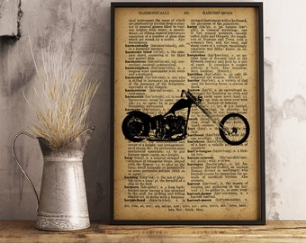 Motorcycle Poster, Motorcycle Wall Art Man Cave Decor Office Decor, Garage Decor, Gift for him, Motorcycle Dictionary print (M08)