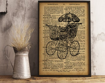 Baby carriage print, Vintage style dictionary print, Baby carriage poster, Vintage Baby carriage wall art, antique Baby carriage (V04)