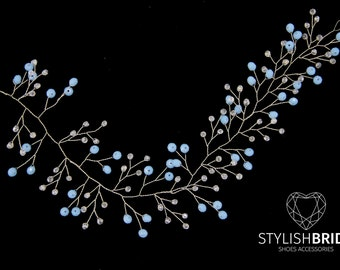 Wedding Blue Crystal Hair Vine, Blue Bridal Hair Vine, Crystal Hair Accessories, Bridal Crystal Hair Vine, Bridal Blue Hairpiece