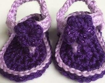 0-3 mos. purple & lavender flip flops