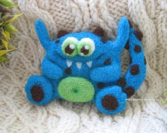 Monster Lilu Handmade Felt Brooch Needle Felting Monster Wool Jewelry Needle Felted Brooch  Felted Cutest Christmas Gift Handmade Brooch