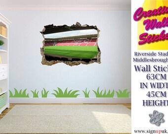 Riverside Stadium Middlesbrough Wall Sticker Kids Bedroom 3d Effect wall decal